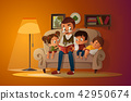 Grandfather sitting with grandchildren on a cozy sofa with the book, reading and telling book fairy 42950674