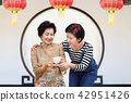 Senior woman drinking tea with her daughter 42951426