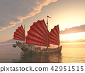 Chinese junk ship at sunset 42951515