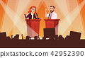 Political Meeting Vector. Debates Concept. Leading Presentation. Tribune. Candidate Speech. People 42952390