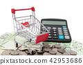 小推車和計算器在被堆積的硬幣和鈔票 42953686
