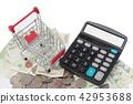 小推車和計算器在被堆積的硬幣和鈔票 42953688
