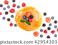 Pancakes stack with different berries isolated on white background with copy space for your text 42954303