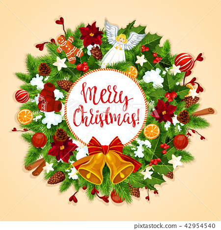 Christmas wreath with Xmas bell, bow greeting card 42954540