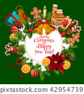 Christmas and New Year card with Xmas wreath 42954739
