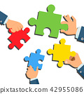 Solution Concept Vector. Businessman Hands With Puzzle. Metaphor. Success Strategy. Brainstorming 42955086