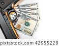 Gun on dollar banknotes. illegal arms trafficking 42955229