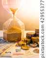 Hourglass and currency on table, Time Investment 42955377