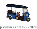 Thai traditional taxi Tuk Tuk in doodle drawing 42957079