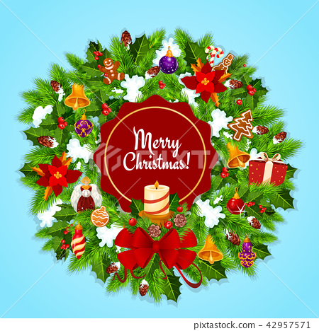 Christmas wreath and candle for Xmas greeting card 42957571