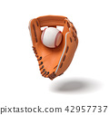 3d rendering of a new orange baseball mitt hanging on the white background with a white ball inside 42957737