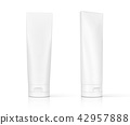 white cosmetic plastic tube on white background 42957888