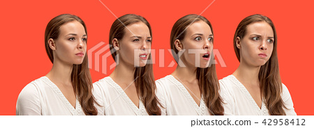 Annoyed young woman feeling frustrated with something. Human facial expressions, emotions and 42958412