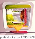 Capsule hotel or pod hostel vector illustration 42958920