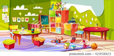 Kindergarten room interior vector illustration 42958923