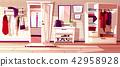 Vector hallway with open door. Interior background 42958928