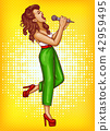 Singing young woman with microphone pop art  42959495