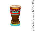African drum djembe with ethnic ornament, authentic symbol of Africa vector Illustration on a white 42959946