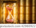 Hourglass with law books in background 42960922