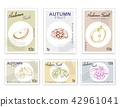 Post Stamps Set  Autumn Fruits with Paper Cut Art 42961041