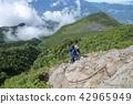 攀登岩石地面的女性登山人 42965949
