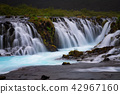 Bruarfoss waterfall. The Blue waterfall in Iceland 42967160