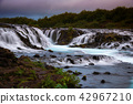 Bruarfoss waterfall. The Blue waterfall in Iceland 42967210