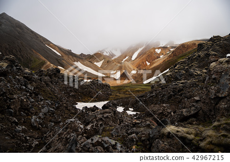 Landmannalaugar in cloudy day ,Iceland Summer. 42967215