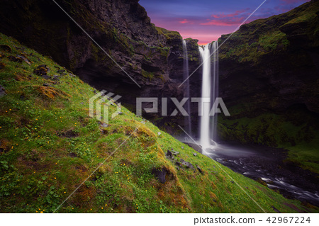 Kvernufoss waterfall in south Iceland Summer. 42967224