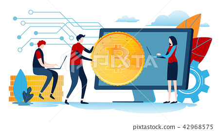 Digital currency. Miniature people with big coin. 42968575