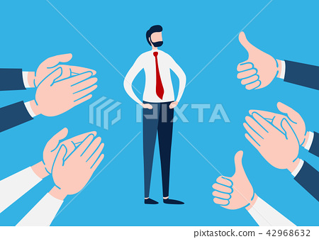 Businessman with many Hands clapping ovation. 42968632