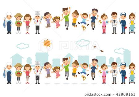 가족과 지역의 사람들 42969163