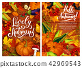 Hello autumn posters with harvest and fall leaves 42969543