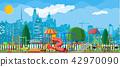 Kids playground kindergarten panorama 42970090
