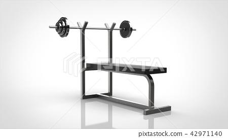 槓鈴和長凳白色背景 42971140