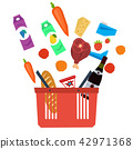 Vector set supermarket basket with food 42971368