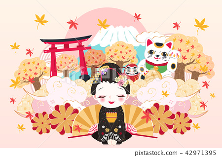 cartoon geisha with travel japan 42971395