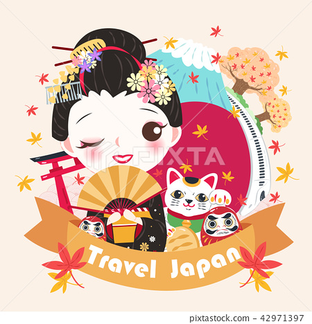 cartoon geisha with travel japan 42971397