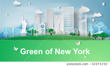 paper art of Travel green of New York City 42973250