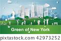 Paper art of happy family green park New York 42973252