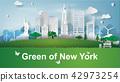 paper art of green landmarks of New York City 42973254