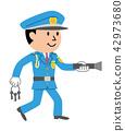 治安警卫夜间安全例证 42973680