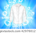 Shine white shirt surrounded by soap bubbles 42976012