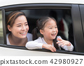 Happy woman with little child driving in car. 42980927