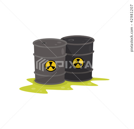 Two barrels with chemical radioactive waste, environmental pollution vector Illustration on a white 42981207