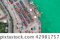 Aerial view container ship from sea port. 42981757