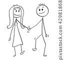 Cartoon of Heterosexual Couple of Man and Woman Walking and Holding Hands 42981868