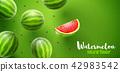 Watermelon sweet fruits flavour banner design 42983542