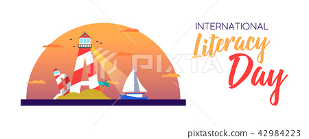 Literacy day banner concept for people education 42984223