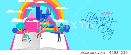 Literacy Day web banner of people reading books 42984236